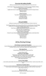 formal catering menu brick house cafe