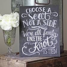 wedding seating signs choose a seat not a side wedding ceremony print by the wedding of