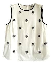 j crew blouses j crew white black beaded sleeveless blouse size 4 s tradesy