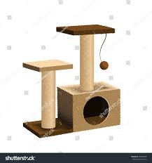 cat furniture cat tree cat house scratching post stock vector 478490008