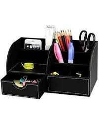Desk Organizer Leather Deals On 7 Storage Compartment Pu Leather Desk Organizer Desktop