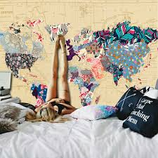 Tapestry On Bedroom Wall Bonnie Bone Floral Watercolor World Map Tapestry Colorful Printed