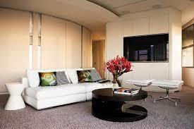 Modern Luxury Living Room Designs Natural Elegant Beige Color Living Room With Floral Wall Design