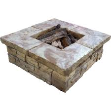 Home Depot Firepits by Stonebilt Concepts Telluride 44 In Square Stacked Stone Fire Pit