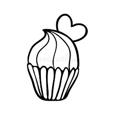 valentine cupcake sketch with one heart stock vector image 49739575