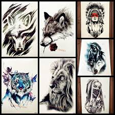 tribal wind wolf temporary tattoo stickers for women men body art