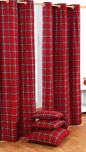 homescapes pair of 100 cotton ready made curtains edward tartan