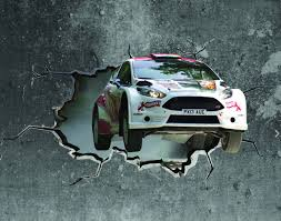 3d rally car cracked wall effect sticker mural decal graphic zoom