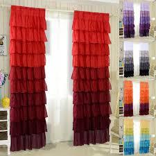 Sheer Ruffled Curtains 1 Pair Ruffle Sheer Curtain 54 X84 Panels Drapes Valances Top Rod