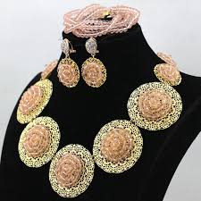 round plate necklace images Latest peach color crystal fashion african jewelry set round plate jpg