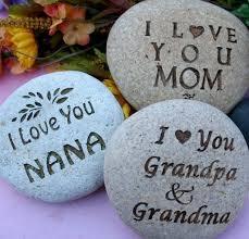love you mom grandmom custom engraved rock with you text home