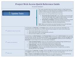 project web access quick reference guide for managers office