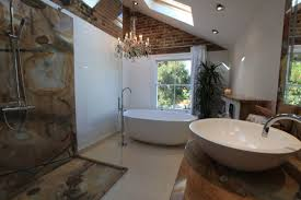 bathrooms with freestanding tubs airy bathroom interior with white freestanding tub with shower