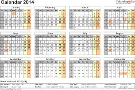 2014 calendar template pdf calendar