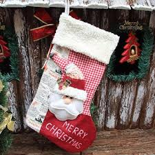 Christmas Stocking Tree Decoration by Christmas Gift Socks Bags Santa Claus Snowman Pattern Fabric