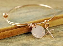 bangle charm bracelet diy images Rose gold bangle bracelet hand stamped bracelet personalized jpg