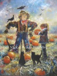 autumn print pumpkin patch scarecrow black