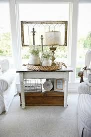 Living Room End Table Decor White Farmhouse End Table Side Table Makeover Sunroom And