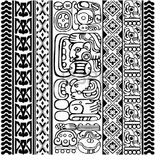 vector set of mayan and aztec glyphs with ancient characters