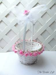 wedding baskets pink flower girl basket pink wedding basket pink wedding
