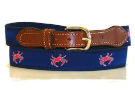 preppy ribbon belts crab canvas ribbon belt