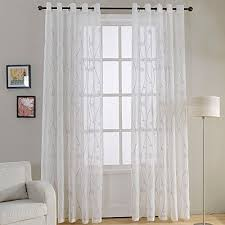generic top finel natural embroidered sheer curtains for living