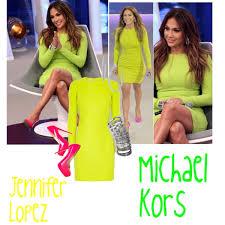 jennifer lopez wearing michael kors neon dress polyvore