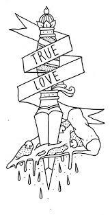 dagger in cake with true love banner tattoo design tattooshunt com