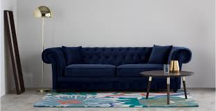 blue chesterfield sofa branagh 3 seater chesterfield sofa electric blue velvet made com