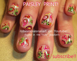 robin moses nail art paisley nail retro nail design green and
