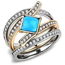 gold platinum rings images A 14k rose gold platinum 1 4ct princess cut turquoise stackable JPG