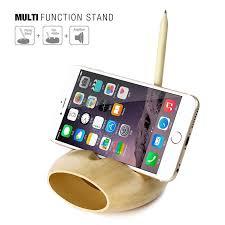 Desktop Pen Holder Seenda Bamboo Phone Desktop Charging Base Holder Amplifier