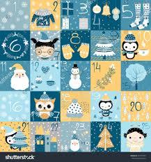 christmas advent calendar countdown christmas blue stock vector