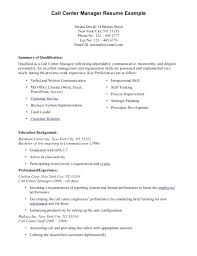 Previous Work Experience Resume Sample Call Center Manager Resume Sample Call Center Resume