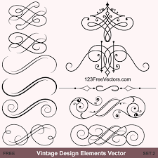 vintage calligraphic vector ornaments 123freevectors