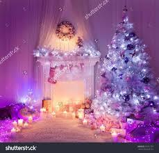 ribbon bring white tree decorations purple colorful