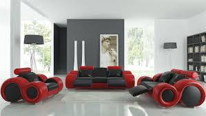 Black Leather Sofa Modern Black And Leather Sofa Set Tos Lf 8804 Blackred Lther