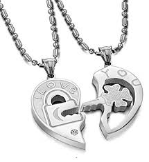 heart couple necklace images His hers matching set open your heart couple pendant necklace jpg