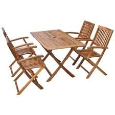 Dining Tables 4 Chairs Set Of 5 Patio Garden Outdoor Terrace Acacia Wood Dining Table 4