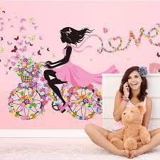 Home Decoration Accessories Wall Art Grosgrain Ribbon Wall Sticker Creative Cartoon Bike Wall Art