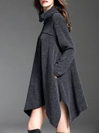 gray casual solid asymmetrical pockets sweater dress stylewe com