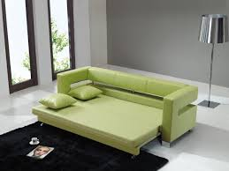 Pull Out Sofa Bed Synthetic Green Leather Pull Out Sofa Bed With Two Cushions Of