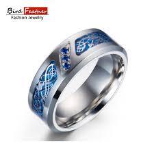 buy titanium rings images Buy bird feather stainless steel men rings dragon jpg