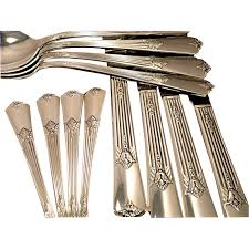 Artistic Flatware Rogers Exquisite Vintage 1940 Art Deco Silver Plate Flatware From