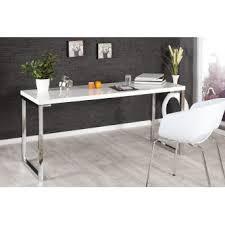bureau blanc laqué design blanc laqué et pieds en acier chromé luc 160 cm