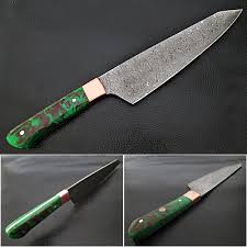 forged kitchen knives gyutou forged chef knife resin grips green brown by white deer