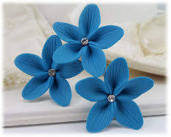 turquoise flowers turquoise hair flowers aqua flower wedding hair pins