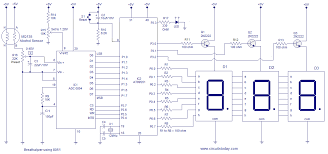 alcohol breathalyzer circuit using 8051 microcontroller three