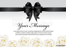 funeral ribbon funeral card black ribbon bow and white flower vector design