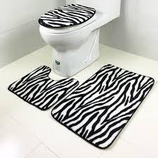 3 pcs tiger u0026 zebra skin anti silp bath mat flannel contour rug